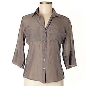 Ann Taylor size 2-  3/4 sleeve button down beige